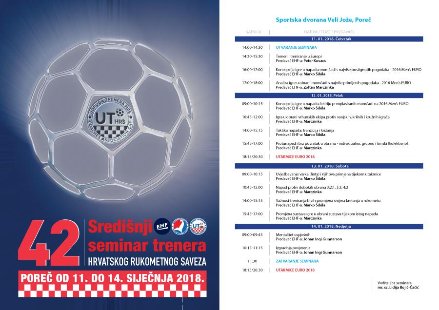 Program 42. Središnjeg seminara za trenere HRS-a u Poreču od 11. do 14. siječnja 2018.